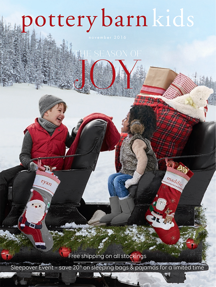 Mia and friend on the cover of the Pottery Barn Kids Holiday 2016 catalog.