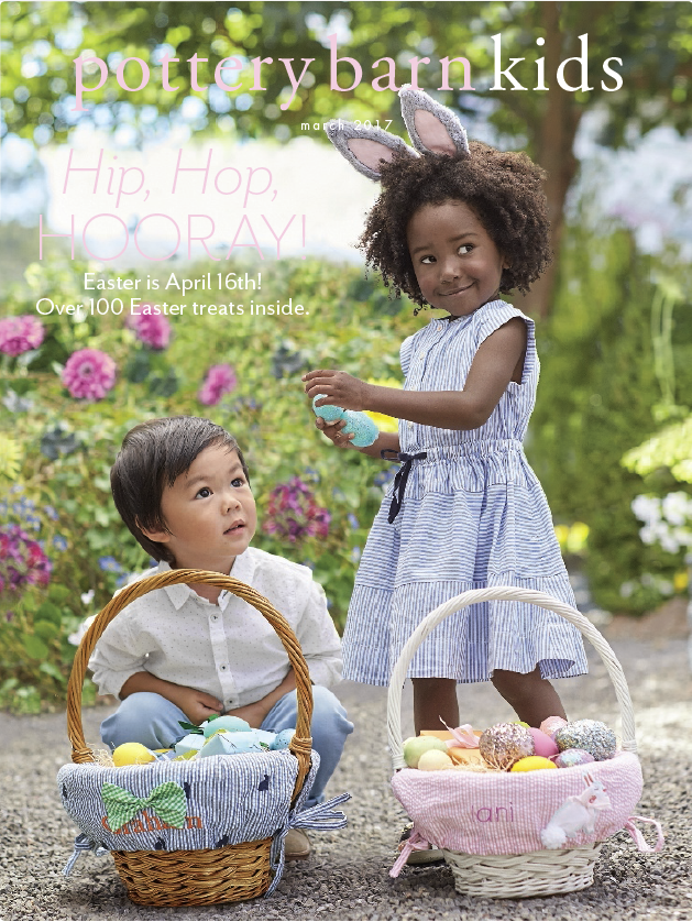 Mia and friend on the cover of the Pottery Barn Kids Easter 2017 catalog.