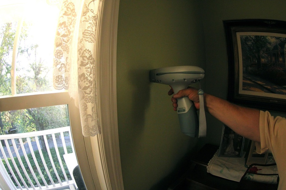 We test every different painted surface inside. Baseboard, walls, window trim, door trim, doors, windows, cabinets, etc.