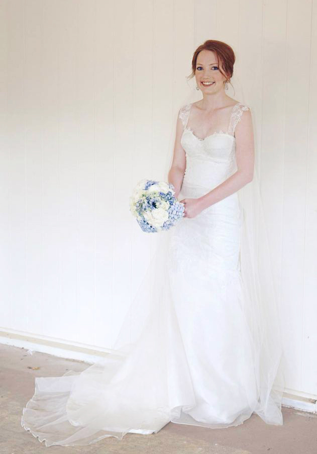 The beautiful Rebecca in her exquisite Deborah Selleck lace wedding dress.