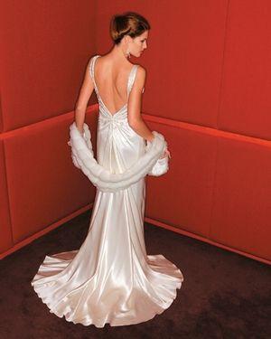 Beautiful backless dress design by Deborah Selleck