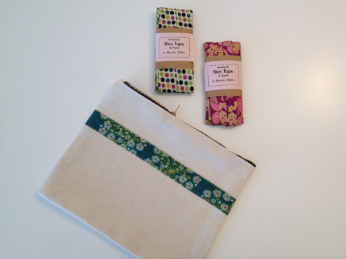 Zip Pouch and Handmade Bias Tape by Claudia