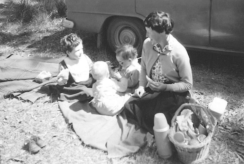 Family bush picnic in the 1960s with my mum, younger sister and brother