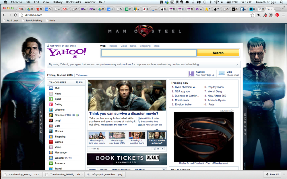 Front page of Yahoo UK on 10th July 2013, linking to the quiz.
