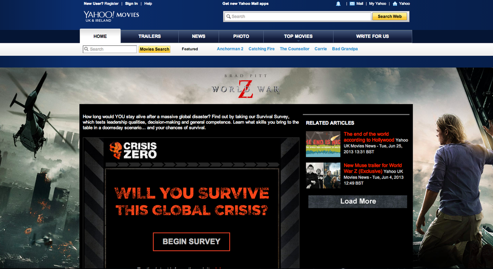 Quiz hosted on Yahoo Movies to promote World War Z.