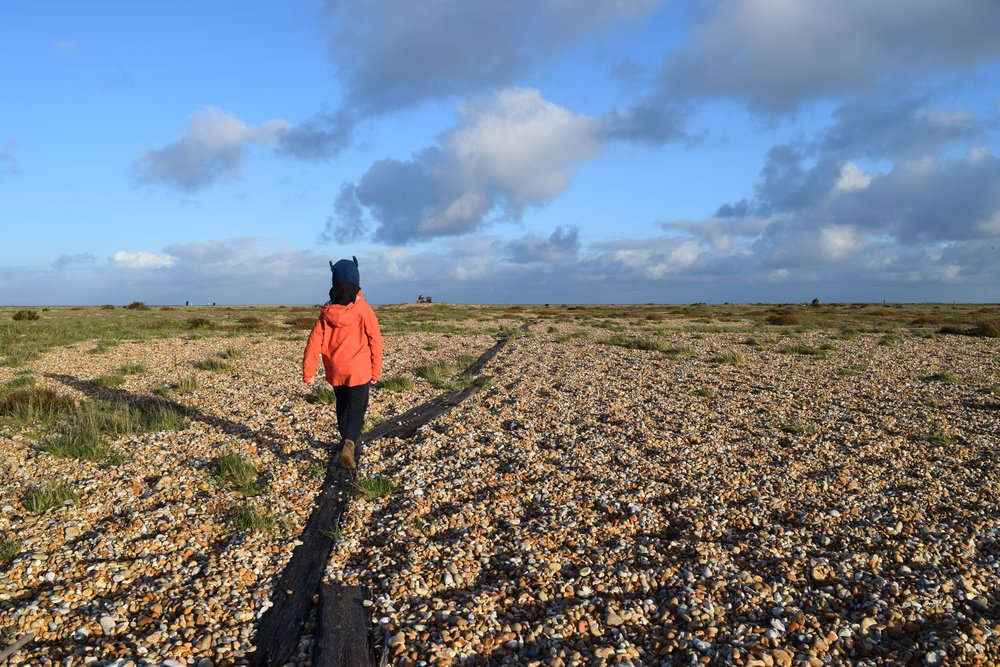My son George exploring Dungeness