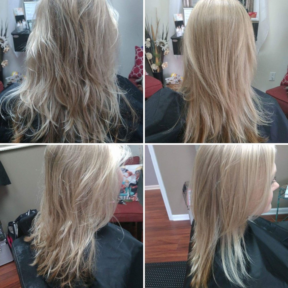 Before                                                                                                                                         After                                                                        Hair by noelle snoots