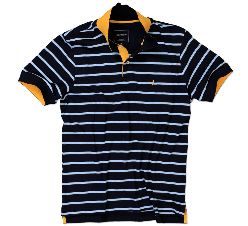 Bright lit Polo - Navy & White Stripes