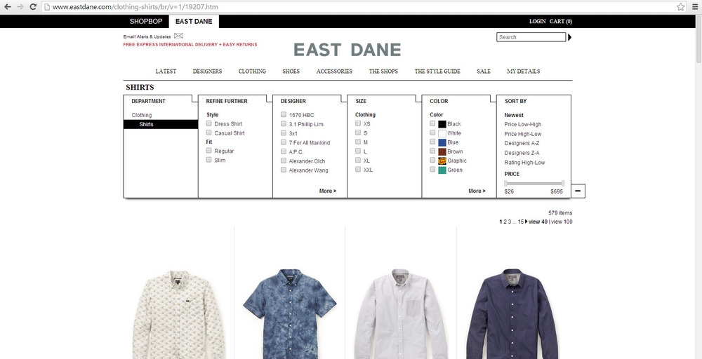 eastdane browse shop