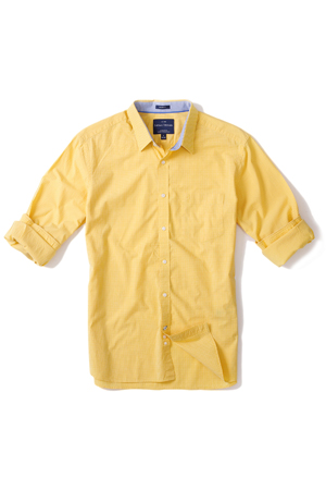 If whites and grey bored you the whole week, add some color to friday dressing with this yellow shirt.