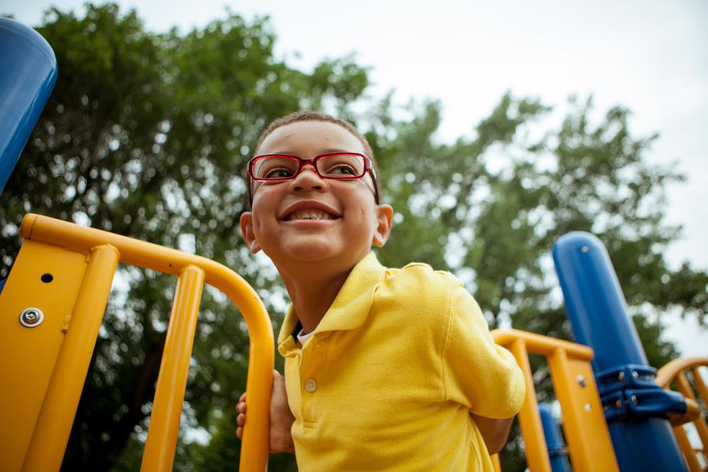child on a playground portrait