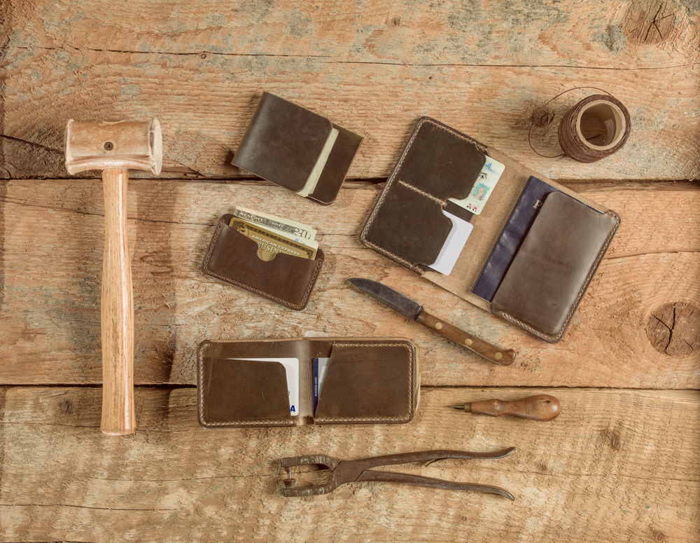 Leather wallets and tools