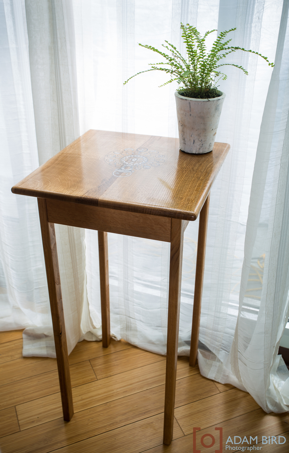 wooden side table made by Josh McVety
