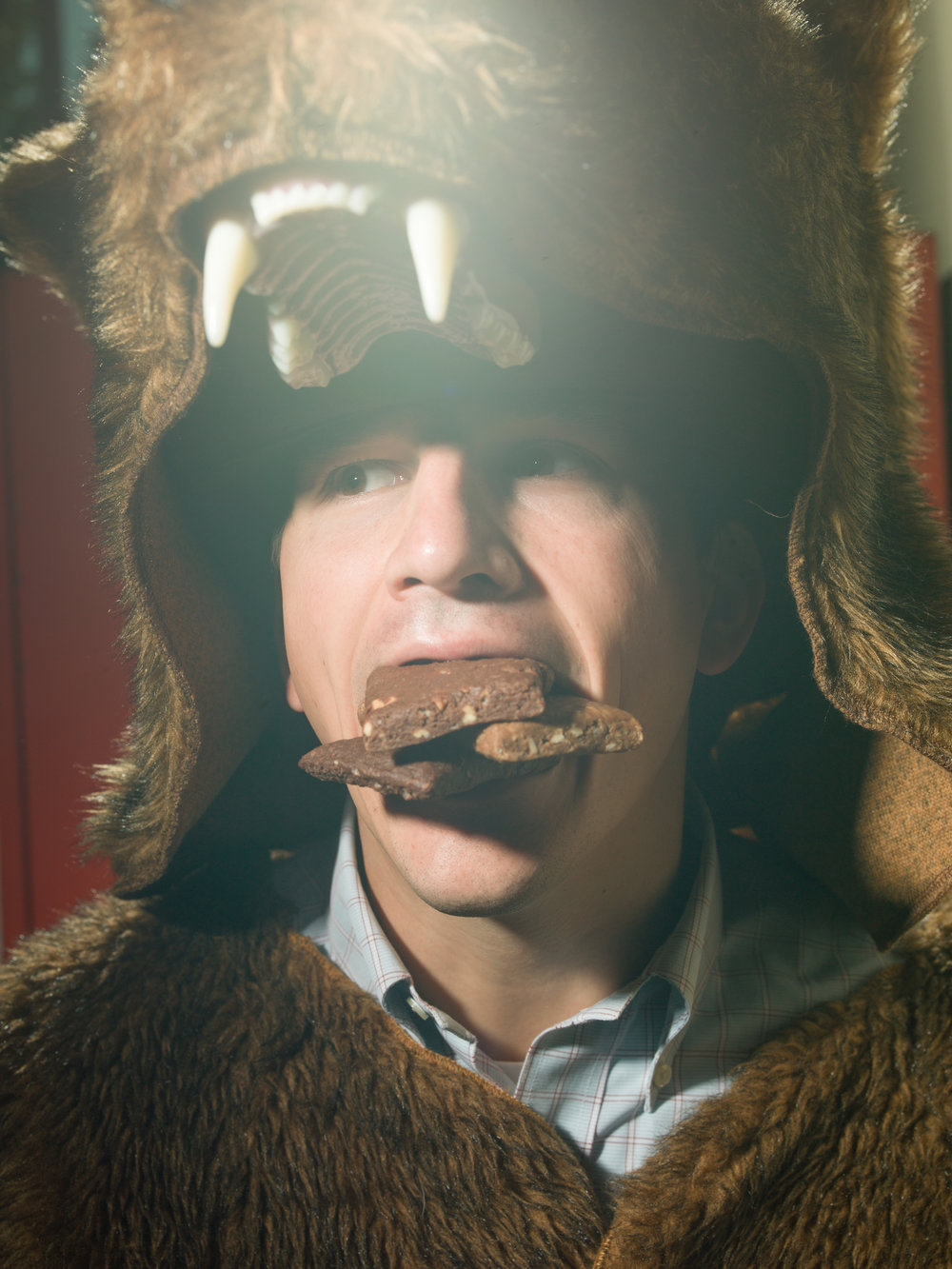 Marshall Rader, co-founder and CEO of Gluten Free Bars in his usual bear suit.