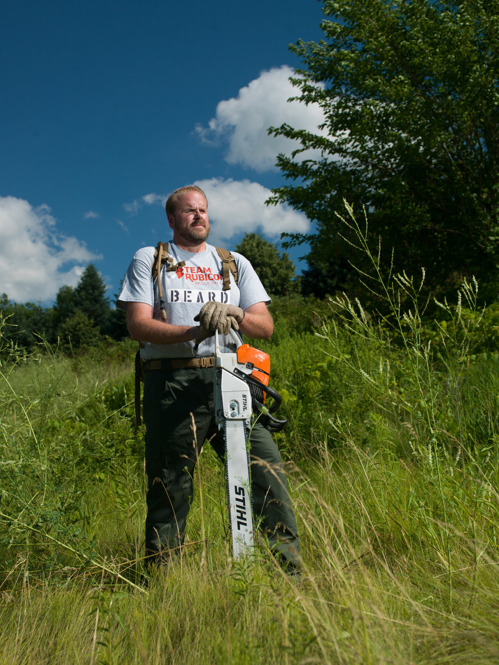 Cort Beard, Team Rubicon disaster relief volunteer who uses a chain saw to save lives.