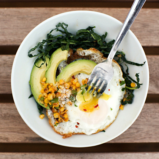 FRIED EGG WITH KALE SALAD