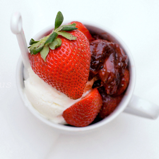 ROASTED STRAWBERRIES WITH CREME FRAICHE ICE CREAM