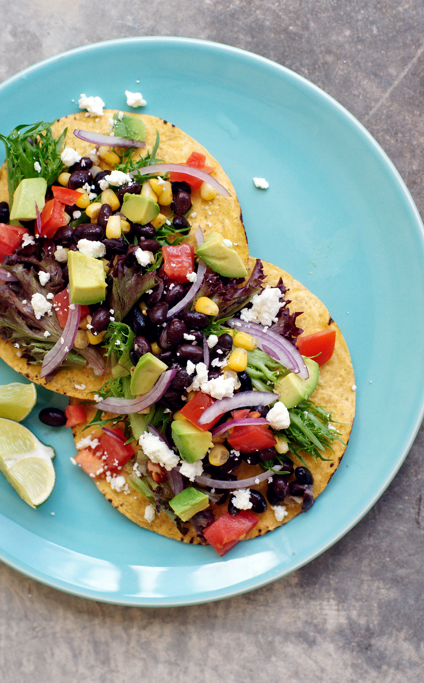 MEXICAN TOSTADAS WITH BEANS AND AVOCADO — 1-2 Simple Cooking