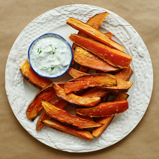 BAKED SWEET POTATO FRIES W/ HERB YOGURT DIP