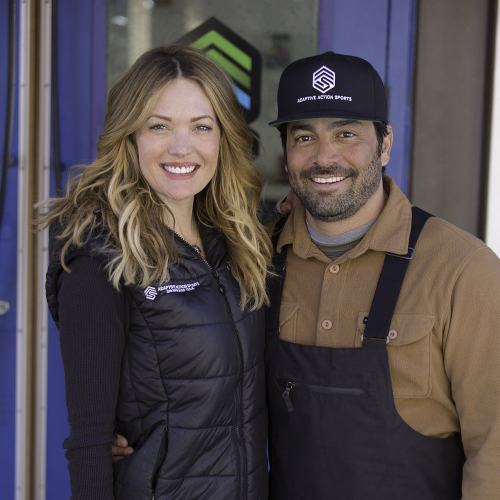 Daniel Gale and Amy Purdy founders of Adaptive Action Sports, outside the AAS offices at Copper Mountain, Colorado.