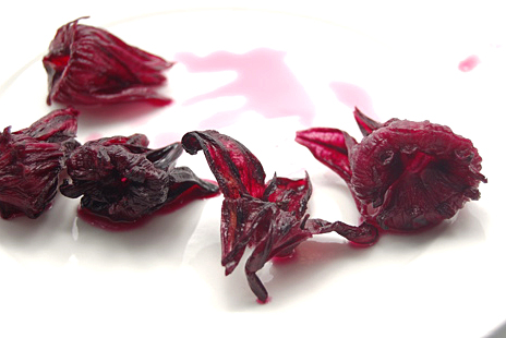 (Hibiscus flowers after steeping. Photo from July, 2008.)