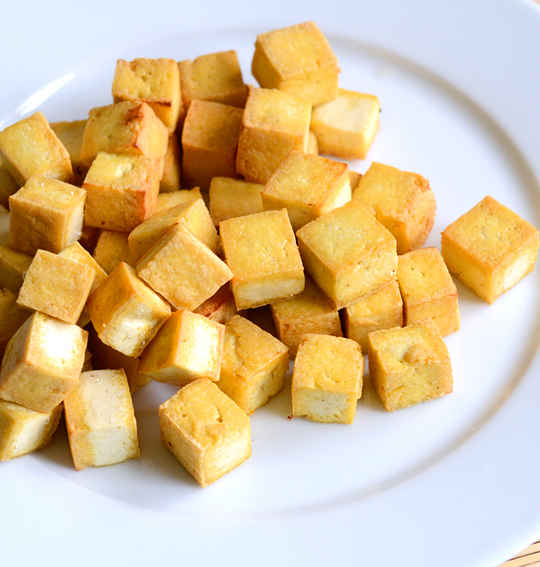 Pan-fried tofu cubes