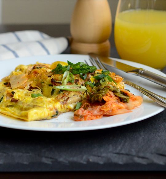 Kimchi and Mushroom Omelet