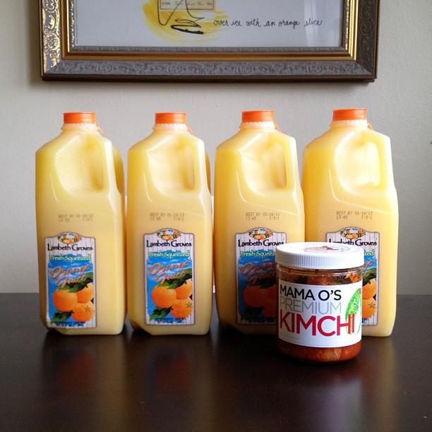 Orange juice, kimchi