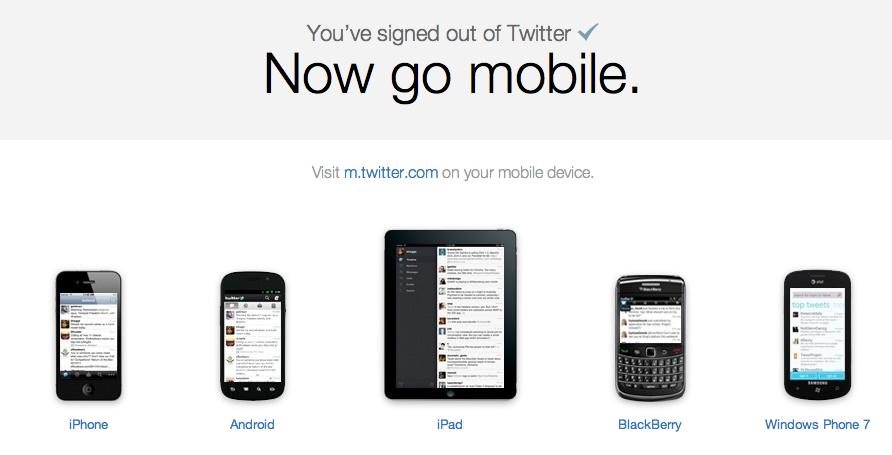 You've signed out of Twitter, now look at it on a black rectangle. They make everything better!