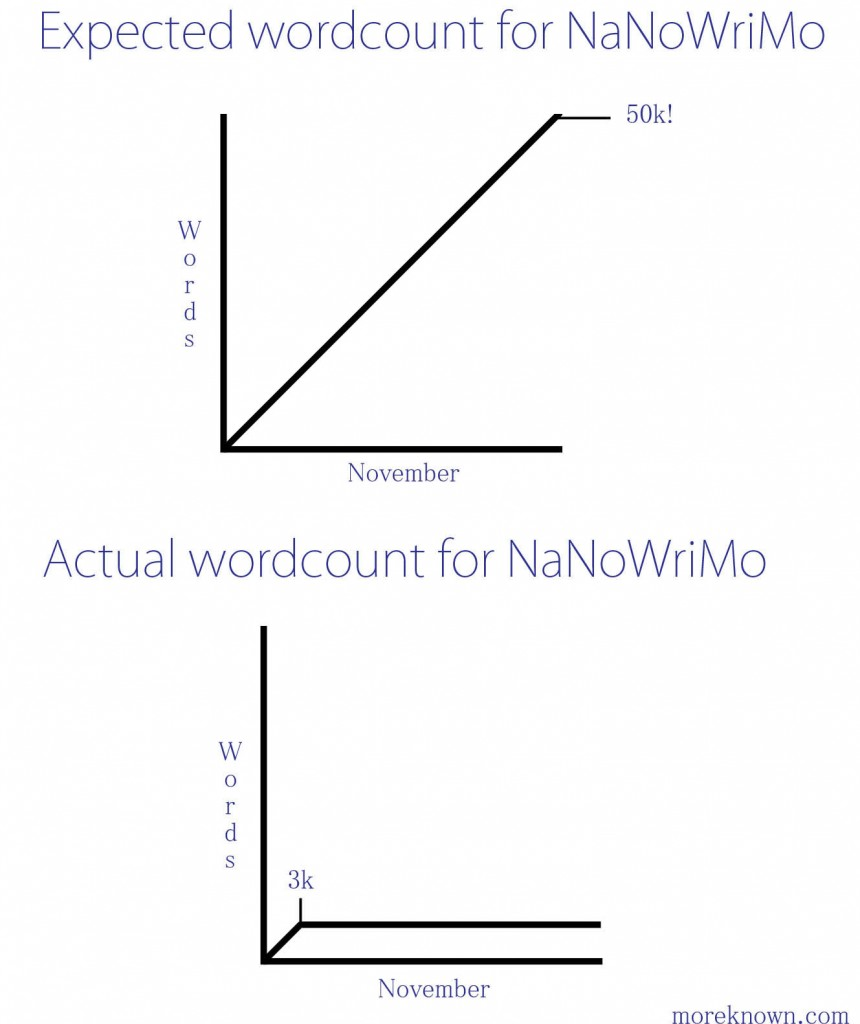 veritasnoir :     The More Known      NaNoWriMo chart expectations