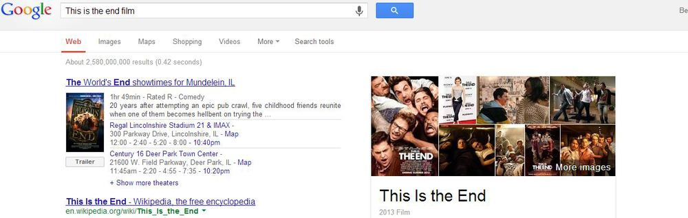 "Even Google thinks I may be confused when typing in ""this is the end."""