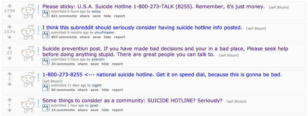 Multiple posts for suicide prevention from /r/bitcoin