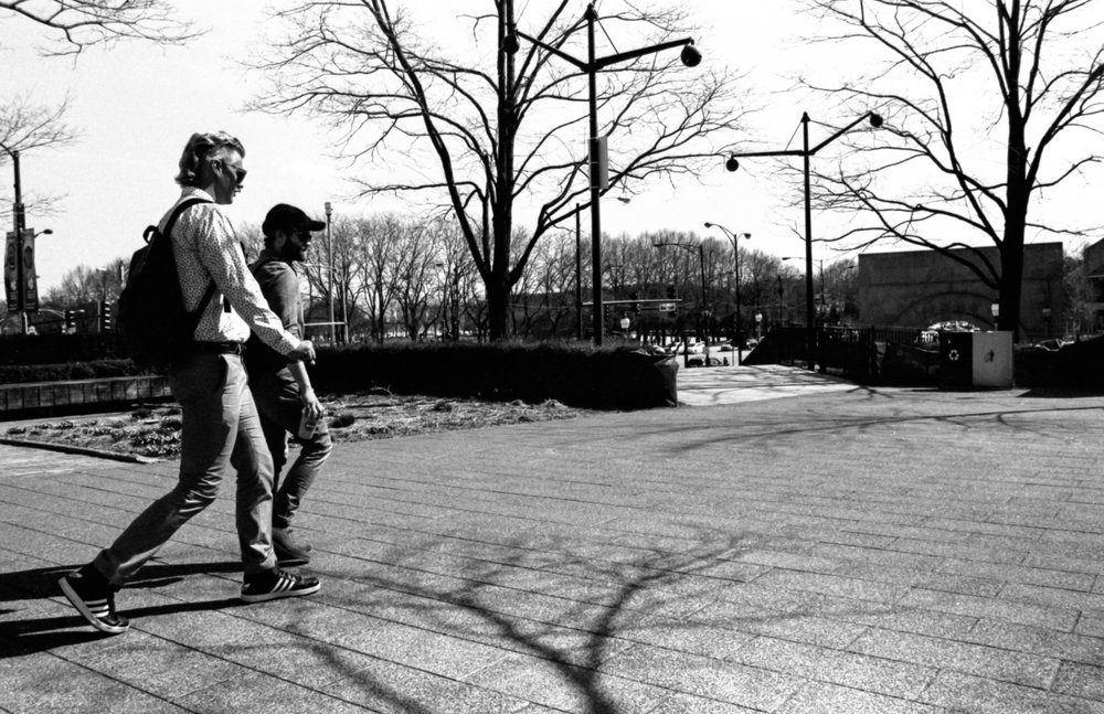 This is from my first scans done from my own developing. Two guys walking in Millenium Park a few weeks ago.