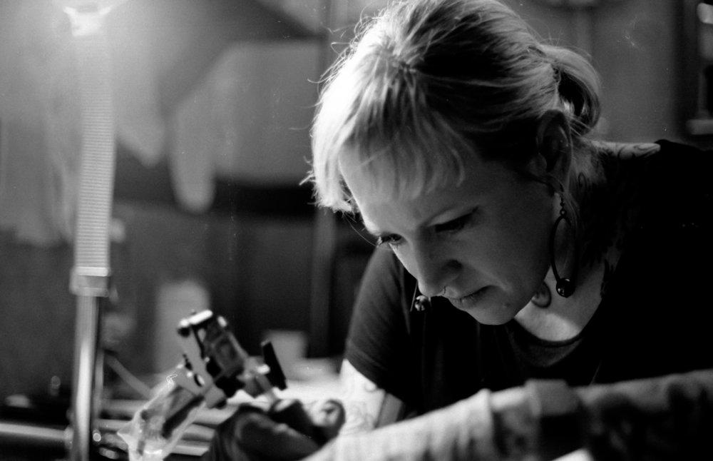 Crystal Martinez of Speakeasy Tattoo    Technical details: Nikon FE2, Kodak Trix (@1600), Kodak D-76