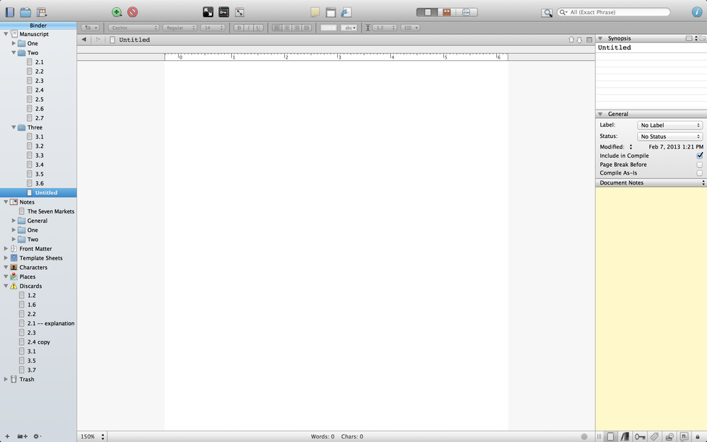 An example of Scrivener's main display.