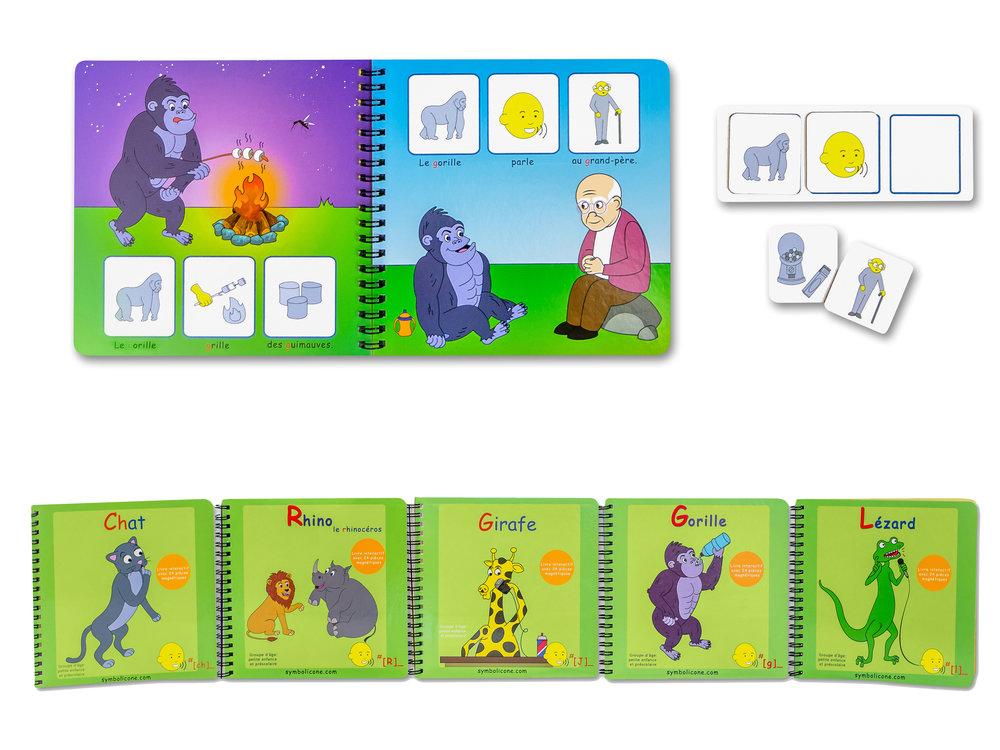 Les livres sont faits decarton résistant, ilssont accompagnés de 24 pictogrammesmagnétiques et d'un livret pour ranger les pièces avec un jeu enbonus.