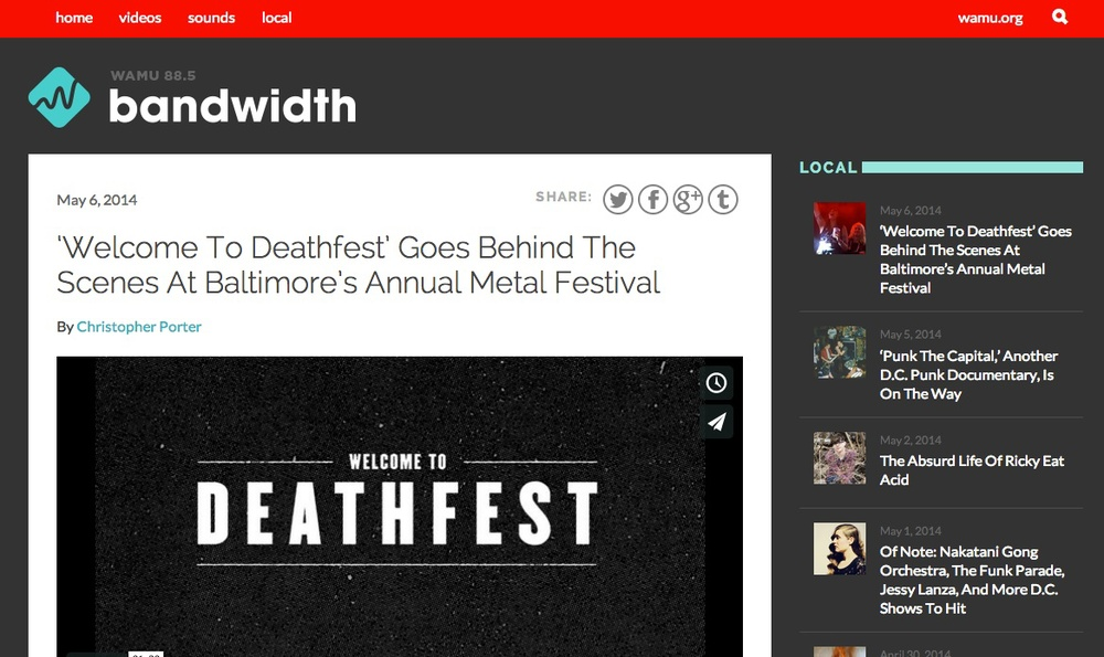 WAMU interviews directors Tom Grahsler and Alicia Lozano ahead of the premiere of Welcome to Deathfest at the 2014 Maryland Film Festival