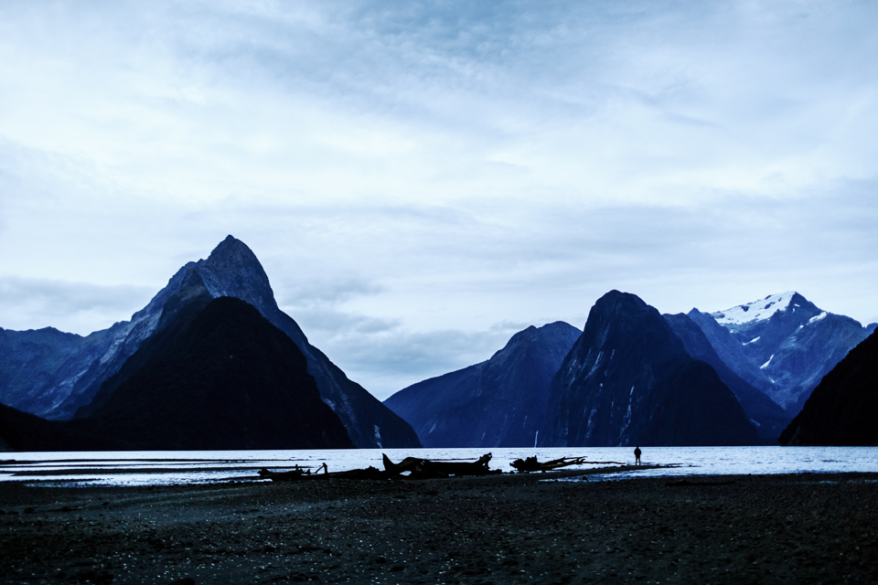 ... at the end of the ride, we were able to approach and walk on the Milford Sound as the tide was low. It was just Alex and I and the whole Milford Sound. Just the 3 of us alone. Unreal feeling.