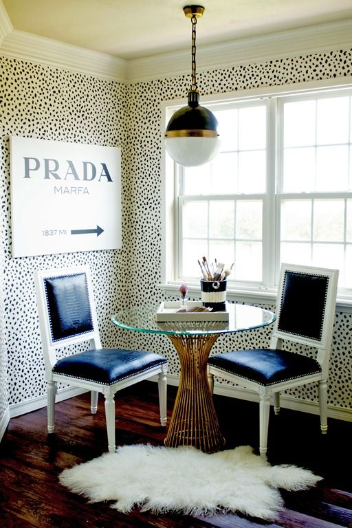 "This spotted ""Tanzania"" wallpaper from Thibaut is perfection. It looks so fresh and feminine."