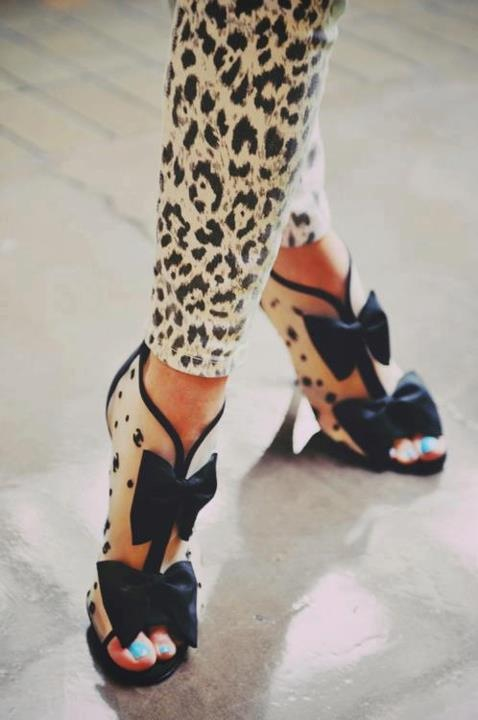 Chanel spotted bow booties