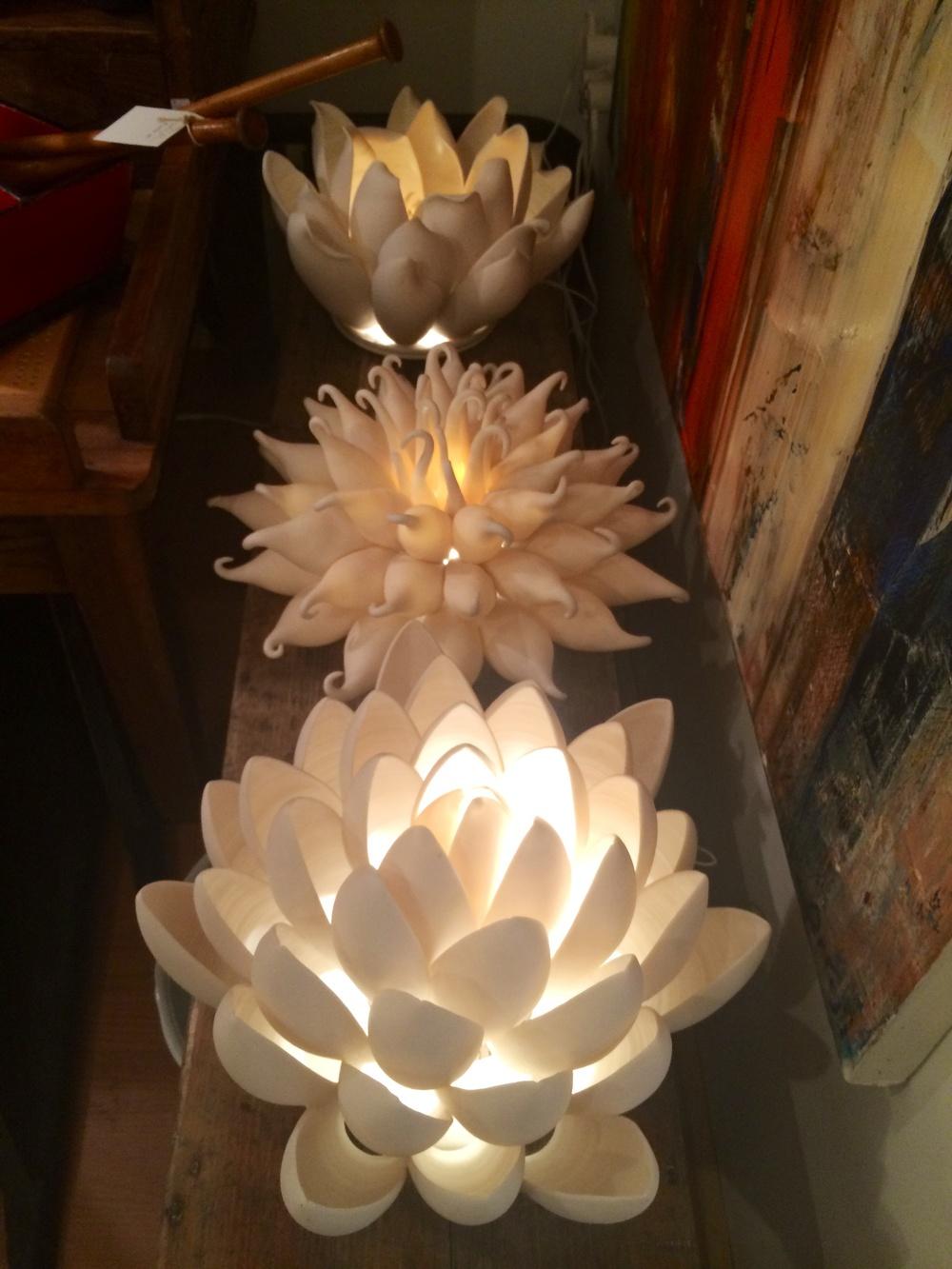 Gorgeous porcelain sea urchin lights