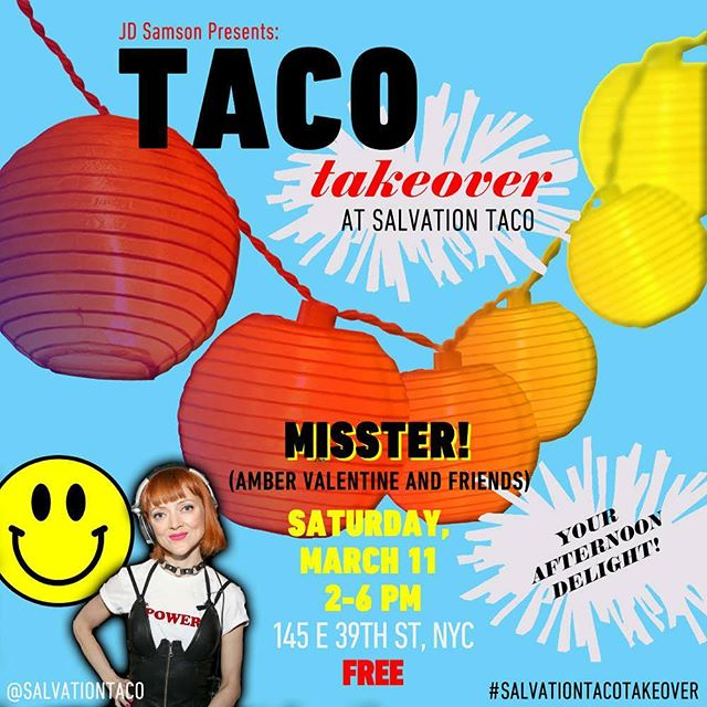 Cold? MISSTER! /@ambervtine is heating things up in our lounge from 2-6PM this Saturday (3.11) for the @jd_samson curated #salvationtacotakeover. #happyhour prices are extended in the lounge!!! #murrayhill  #nycbrunch  #tacotakeover #winterwarmup