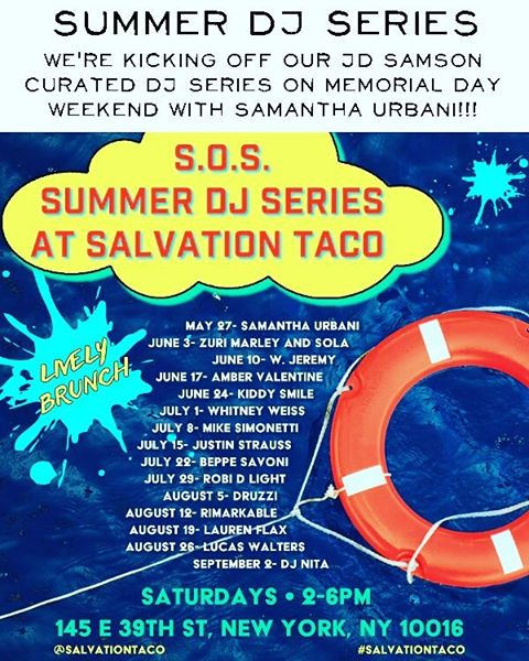 Summer of Salvation is back! 👐 Step up your #brunch game every Saturday from 2-6 in the lounge at @SalvationTaco. 🍾🎧 #SOS #SummerofSalvation #brunch #tacos #memorialdayweekend
