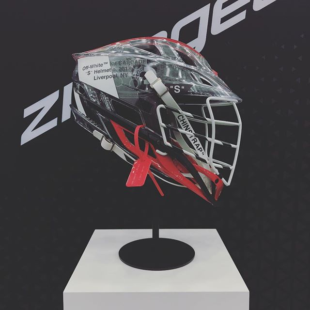 "COP or DROP? ______ #OFFWHITE for @zimagear x @cascade_lacrosse ""CONCEPT"" is on display now at the Back Center of the hall. #LAXCON #laxcon2018"