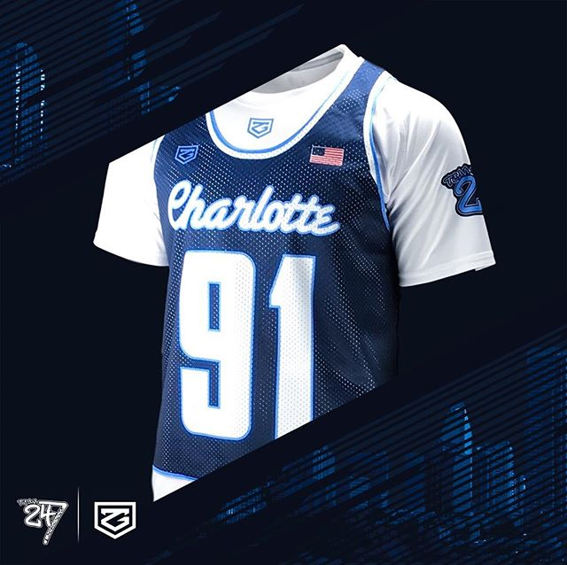 """Away"" tops for @team247lax reppin' the #CLT in our ultralight mesh reversibles"