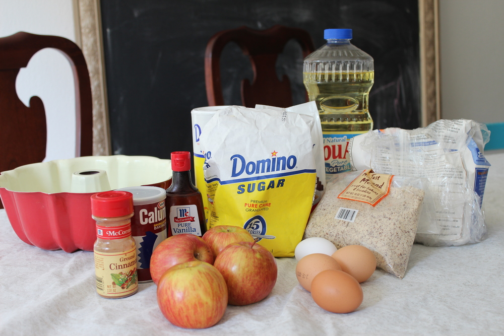 Our ingredients for apple cake.