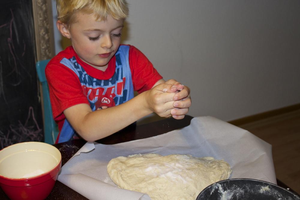 Adding sugar to the dough