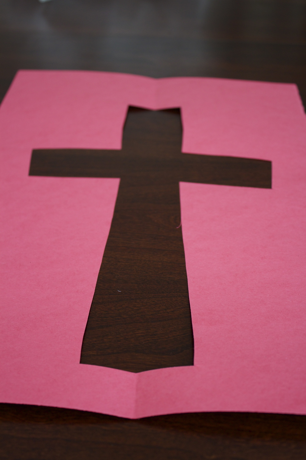 Cross cutout of the construction paper