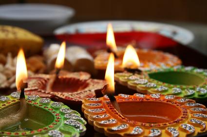 Diyas lit for Diwali