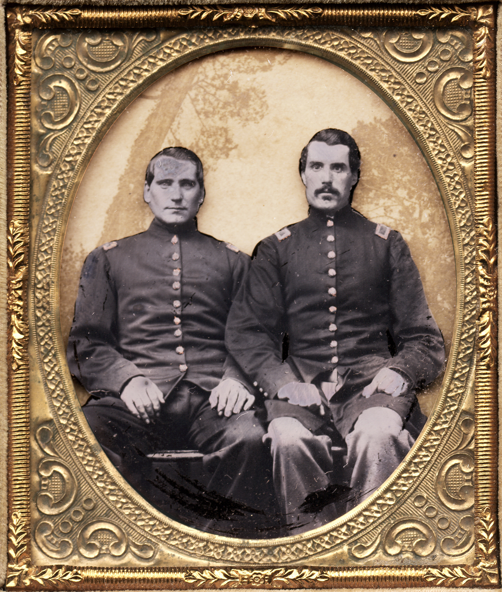 Civil War - Portrait of Two Military Men.  On right is Captain Joseph Pollard, Company E, 2nd Rhode Island Infantry